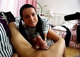 Stunning brunette with ponytails gets her butthole stretched to the limit