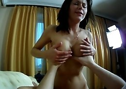 Adorable brunette with nice perky tits gets her tight pussy screwed by a throbbing cock
